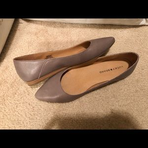 Grey Leather Lucky Brand Flats